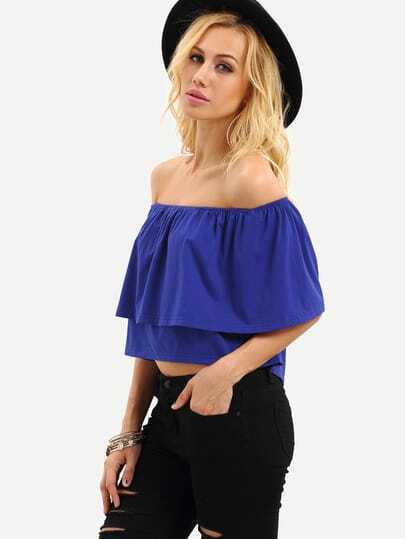 Navy Ruffle Off The Shoulder Crop Blouse