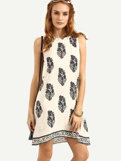 Tie Back Leaf Tribal Print Beach Dress