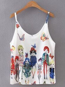 White Butterflies Girls Print Spaghetti Strap Tank Top