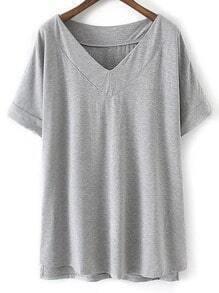 Light Grey V Neck Dip Hem Short Sleeve Casual T-shirt