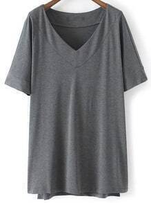 Dark Grey V Neck Dip Hem Short Sleeve Casual T-shirt