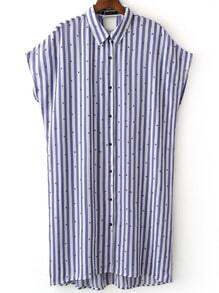 Multicolor Batwing Sleeve Cut Out Back Stripe Shirt Dress