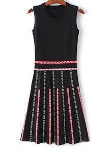 Black Sleeveless Flowers Pattern Knit Dress