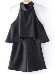 Black Zipper Back Halter Bow Backless Romper