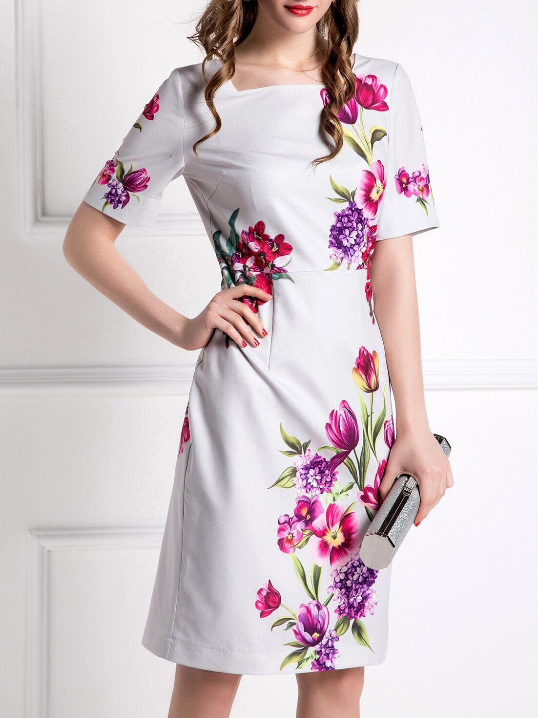 White Boat Neck Flowers Print Dress