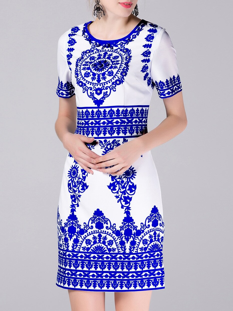 White and Blue Porcelain Embroidered Beading Dress