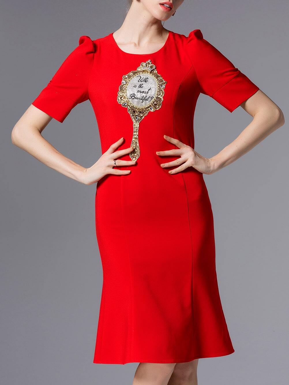 Red Puff Sleeve Embroidered Sequined Beading Dress