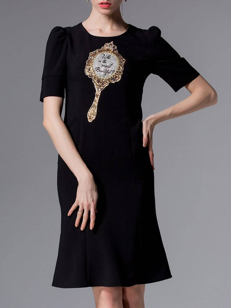 Black Puff Sleeve Embroidered Sequined Beading Dress