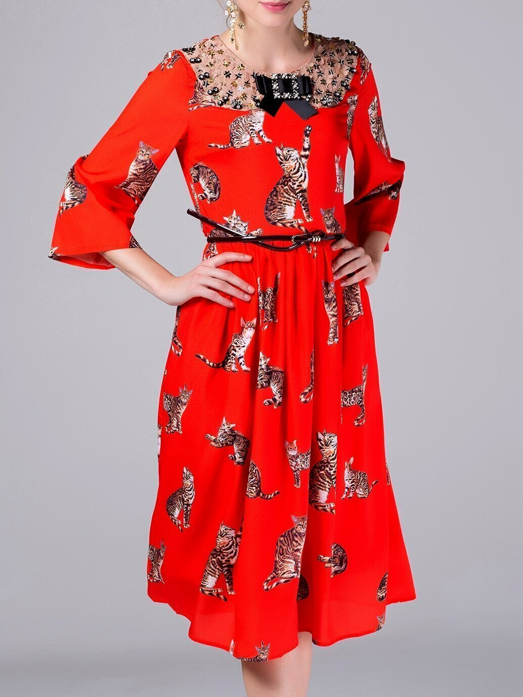 Red Bowtie Belted Cats Print Dress