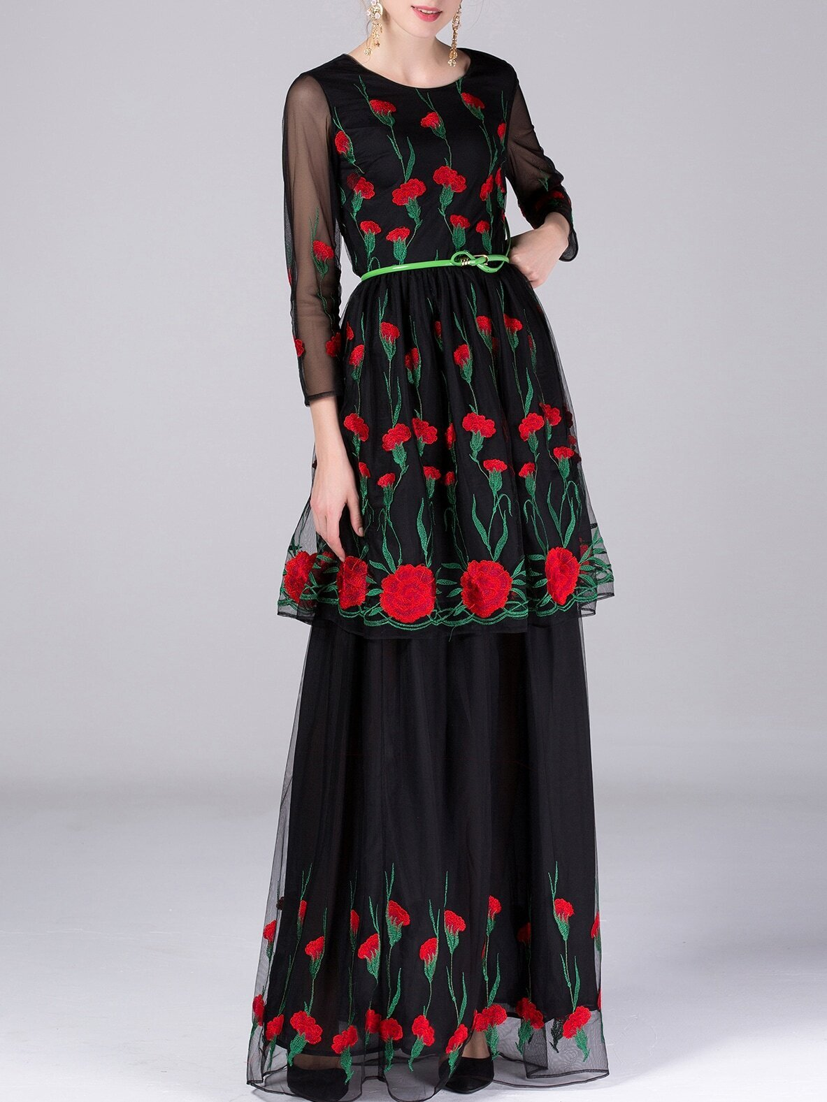 Black Gauze Embroidered Belted Two-piece Dress