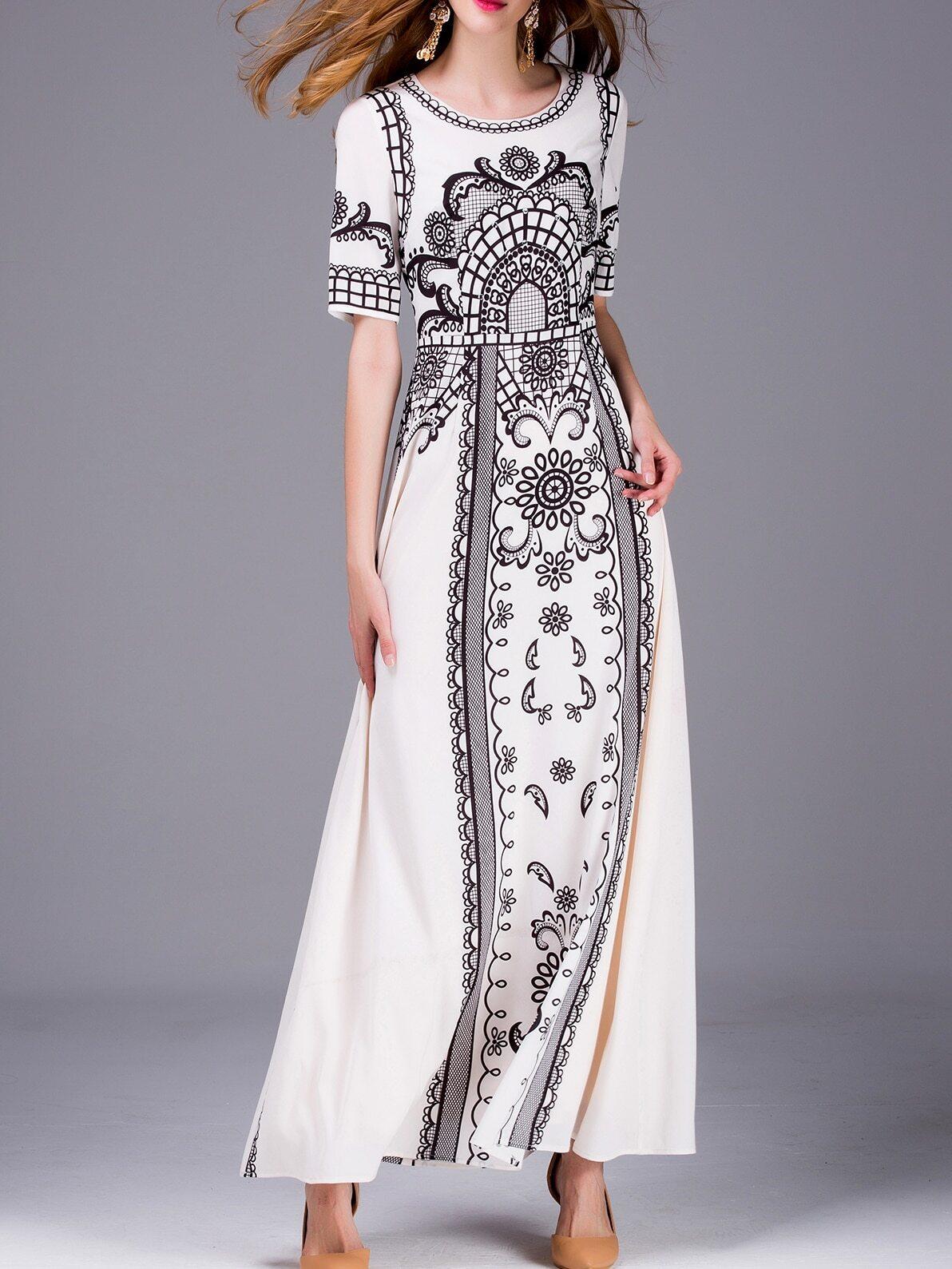 White Vintage Print Beading Maxi Dress