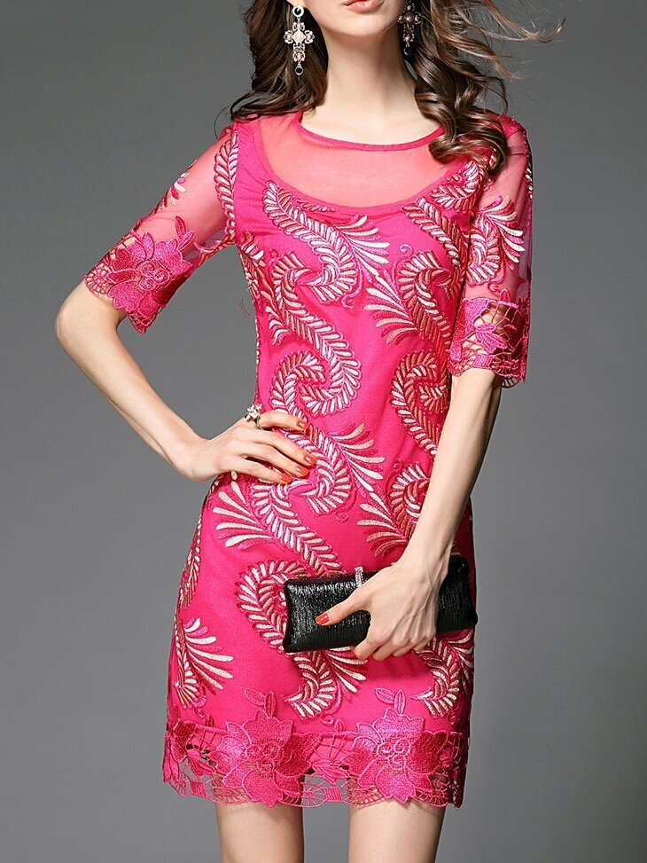 Hot Pink Crochet Hollow Out Shift Dress