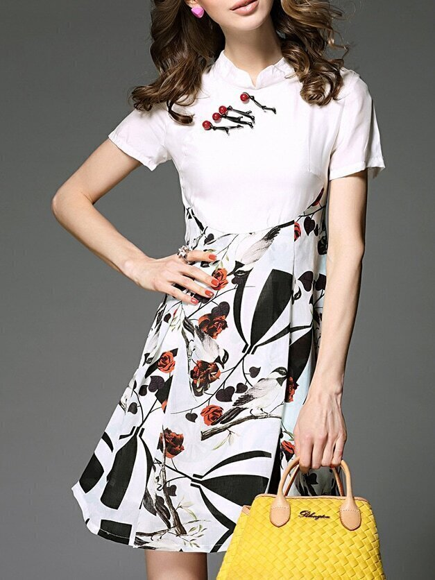 White Collar Birds Print A-Line Dress