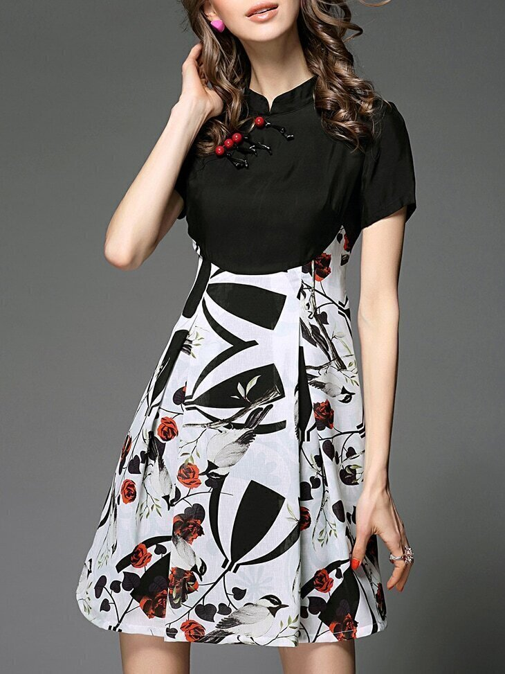 Black Collar Birds Print A-Line Dress