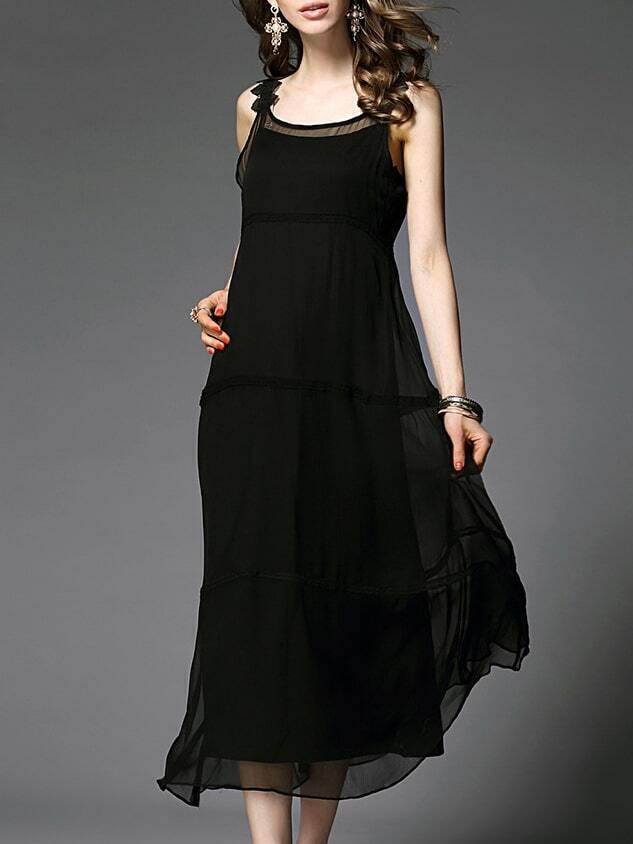 Black Strap Backless Maxi Dress