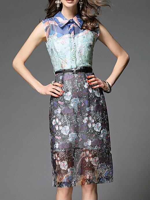Multicolor Lapel Belted Print Shift Dress