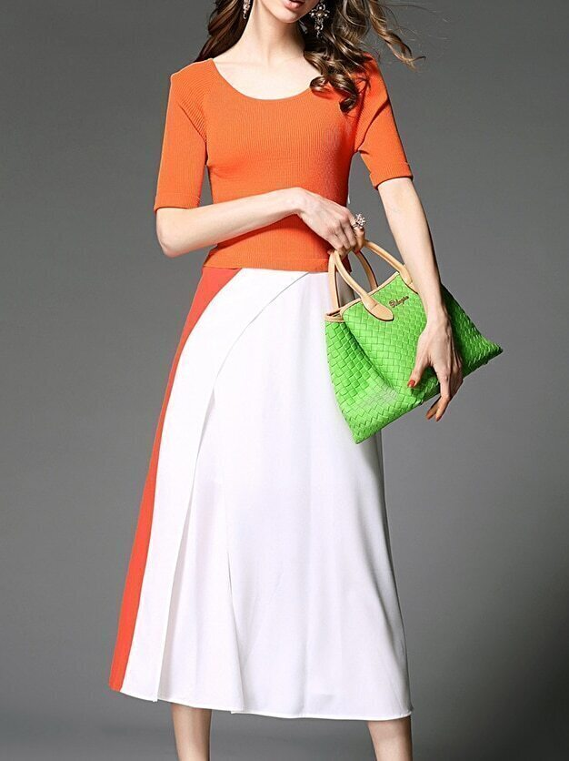 Orange White Contrast Knit Split A-Line Dress