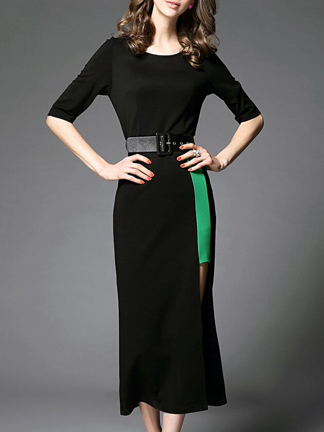 Black Crew Neck Belted Split Dress