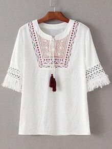 White Tie-Neck Fringe Embroidery Short Sleeve Blouse