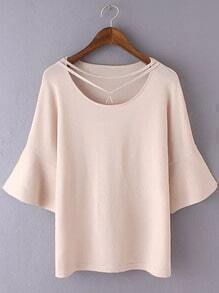 Pink Bell Sleeve Triangle Necklace Knit Blouse