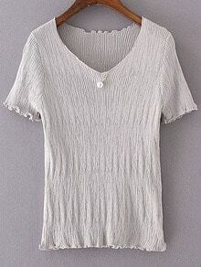 Grey V Neck Pearl Ruched Knitted Short Sleeve Blouse