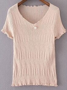 Pink V Neck Pearl Ruched Knitted Short Sleeve Blouse