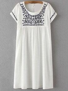 White Keyhole Back Embroidery Short Sleeve Dress