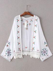 White Bell Sleeve Lace Hem Embroidery Cardigan Kimono