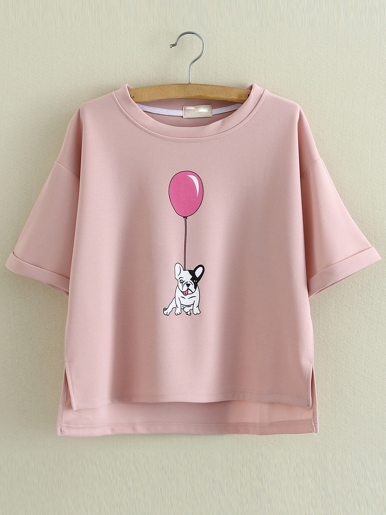 Buy Pink Roll Cuff Dipped Hem Dog Balloon Printing Blouse