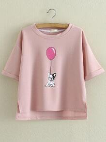 Pink Roll Cuff Dipped Hem Dog Balloon Printing Blouse