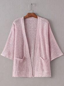 Pink Double Pockets Sunscreen Cardigan Knitwear