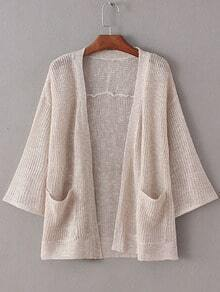 Apricot Double Pockets Sunscreen Cardigan Knitwear