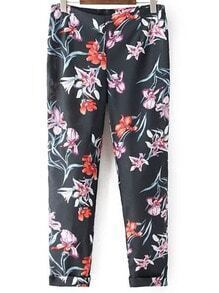 Navy Zipper Side Floral Print Pants