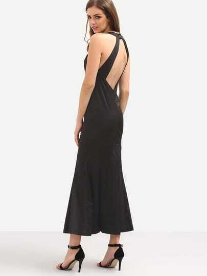Halter Neck Cutout Fishtail Dress - Black