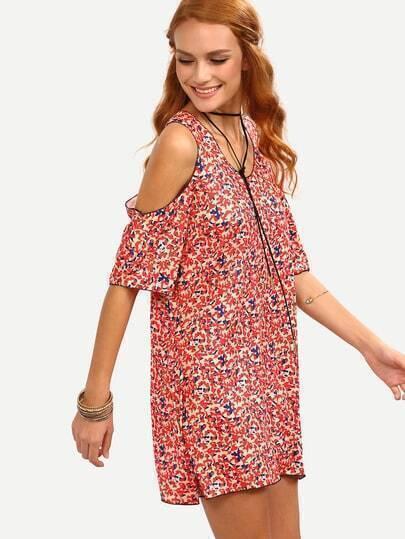 Cutout Shoulder Floral Print Dress - Red