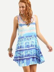 Tie Dye Print Swing Tank Dress - Blue
