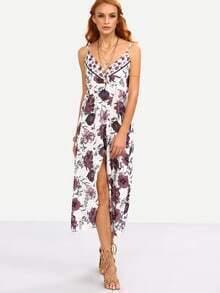 Surplice Front High Slit Multicolor Flower Print Cami Dress