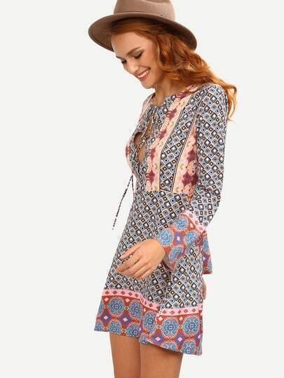 Lace-Up Front Multicolor Geometric Print Boho Dress