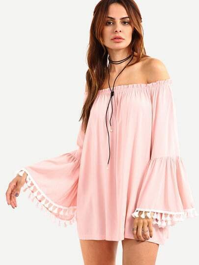 Off-The-Shoulder Tassel Trimmed Bell Sleeve Blouse - Pink