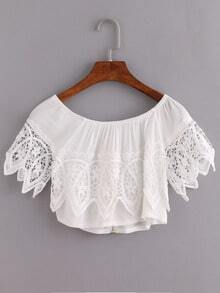 Zip Front Lace Trimmed Crop Top - White