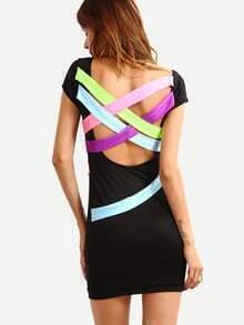 Cutout Lattice Back Sheath Dress - Black