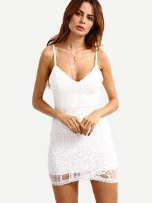 Lace Overlay Bodycon Cami Dress - White
