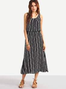 Vertical Striped Sleeveless Blouson Dress - Black