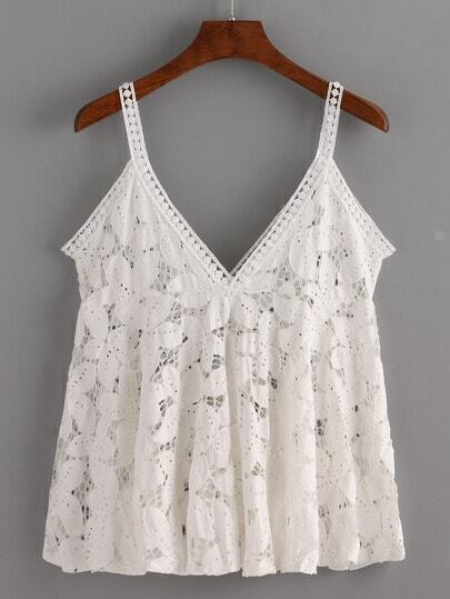 Hollow Out Flower Lace Cami Top - White