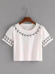 Branch Embroidered Crop T-shirt