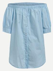 Off-The-Shoulder Buttoned Blouse - Blue
