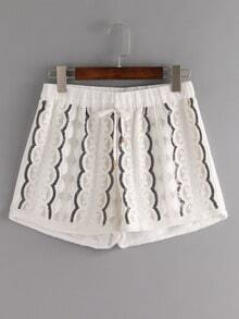 Embroidered Sequin Drawstring Shorts - White