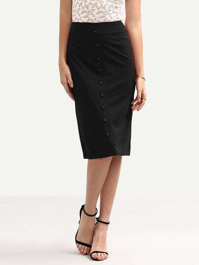 Buttoned Front Pencil Skirt - Black