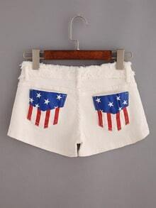 Raw Waist Stars And Stripes Print White Denim Shorts