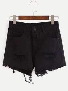 Ripped Raw Hem Black Denim Shorts
